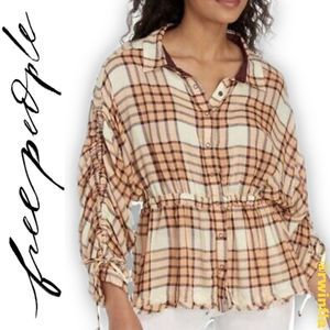 Pacific Dawn Plaid Peplum Shirt Peach Tree Combo